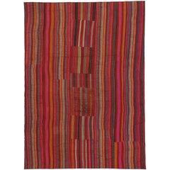 Vintage Turkish Striped Kilim Rug with Modern Rustic Style, Jajim Kilim Rug