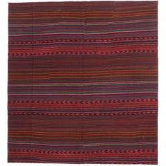 Contemporary Bohemian Vintage Turkish Jajim Kilim Rug, Striped Area Rug