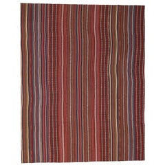 Vintage Turkish Striped Kilim Rug with Modern Rustic Style, Jajim Kilim Rug