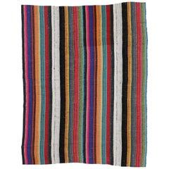 Contemporary Boho Vintage Turkish Jajim Kilim Flatweave Rug, Striped Area Rug