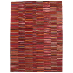 Distressed Vintage Turkish Kilim Rug with Bayadere Stripes and Rustic Style