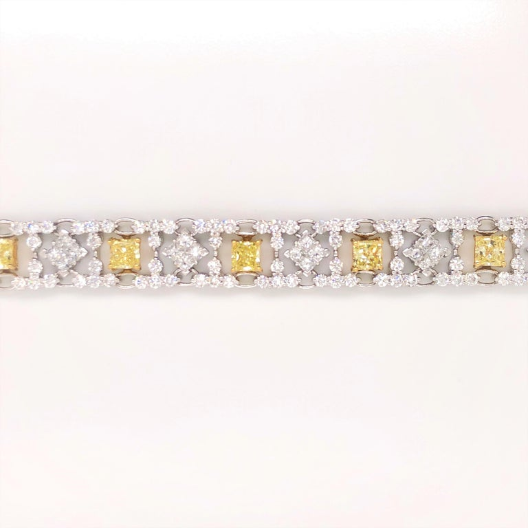 Women's Modern Style Yellow and White Diamond Bracelet in Platinum and 18 Karat Gold For Sale