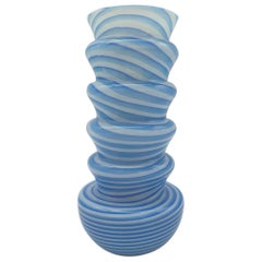 Modern Stylish Murano Glass Vase, White and Blue Stripes by Cenedese, Mid-1990s