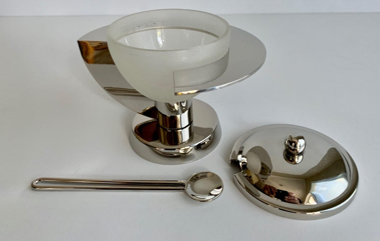 Polished Modern Sugar Bowl with Spoon For Sale