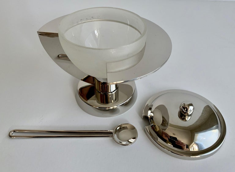 Modern Sugar Bowl with Spoon In Good Condition For Sale In Los Angeles, CA