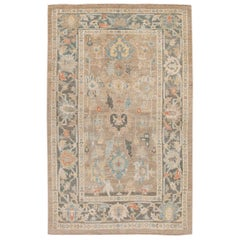 Modern Sultanabad Beige and Gray Handmade Floral Wool Rug
