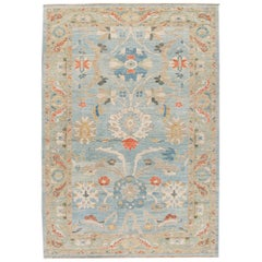 Modern Sultanabad Blue and Green Handmade Floral Wool Rug