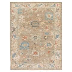 Modern Sultanabad Brown Handmade Floral Wool Rug