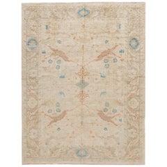 Modern Sultanabad Handmade Beige Floral Wool Rug