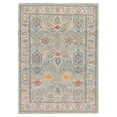 Modern Sultanabad Handmade Blue and Ivory Floral Wool Rug