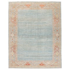 Modern Sultanabad Handmade Blue Designed Oversize Wool Rug