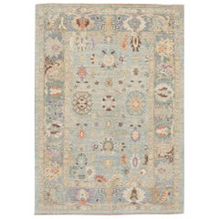 Modern Sultanabad Handmade Blue Floral Wool Rug