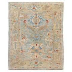 Modern Sultanabad Handmade Blue Medallion Wool Rug