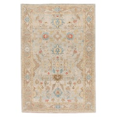 Modern Sultanabad Handmade Floral Blue and Brown Wool Rug