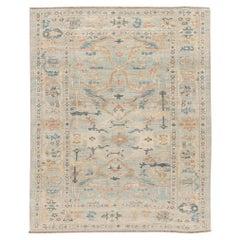 Modern Sultanabad Handmade Floral Blue Wool Rug