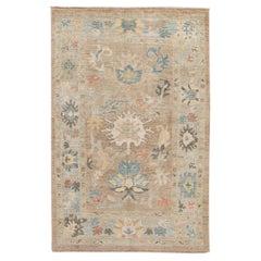 Modern Sultanabad Handmade Floral Tan Wool Rug