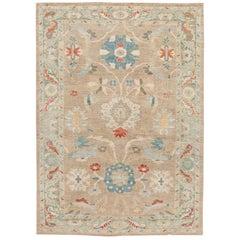 Modern Sultanabad Handmade Multicolor Floral Wool Rug
