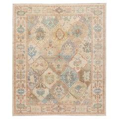 Modern Sultanabad Multicolor Handmade Geometric Floral Pattern Wool Rug