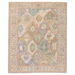 Modern Sultanabad Multicolor Handmade Medallion Floral Pattern Wool Rug
