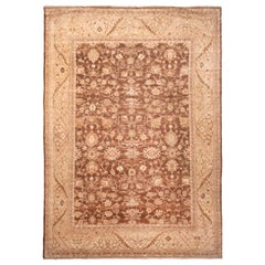 Modern Sultanabad Traditional Beige and Eggplant Persian Rug with Mahal Wool