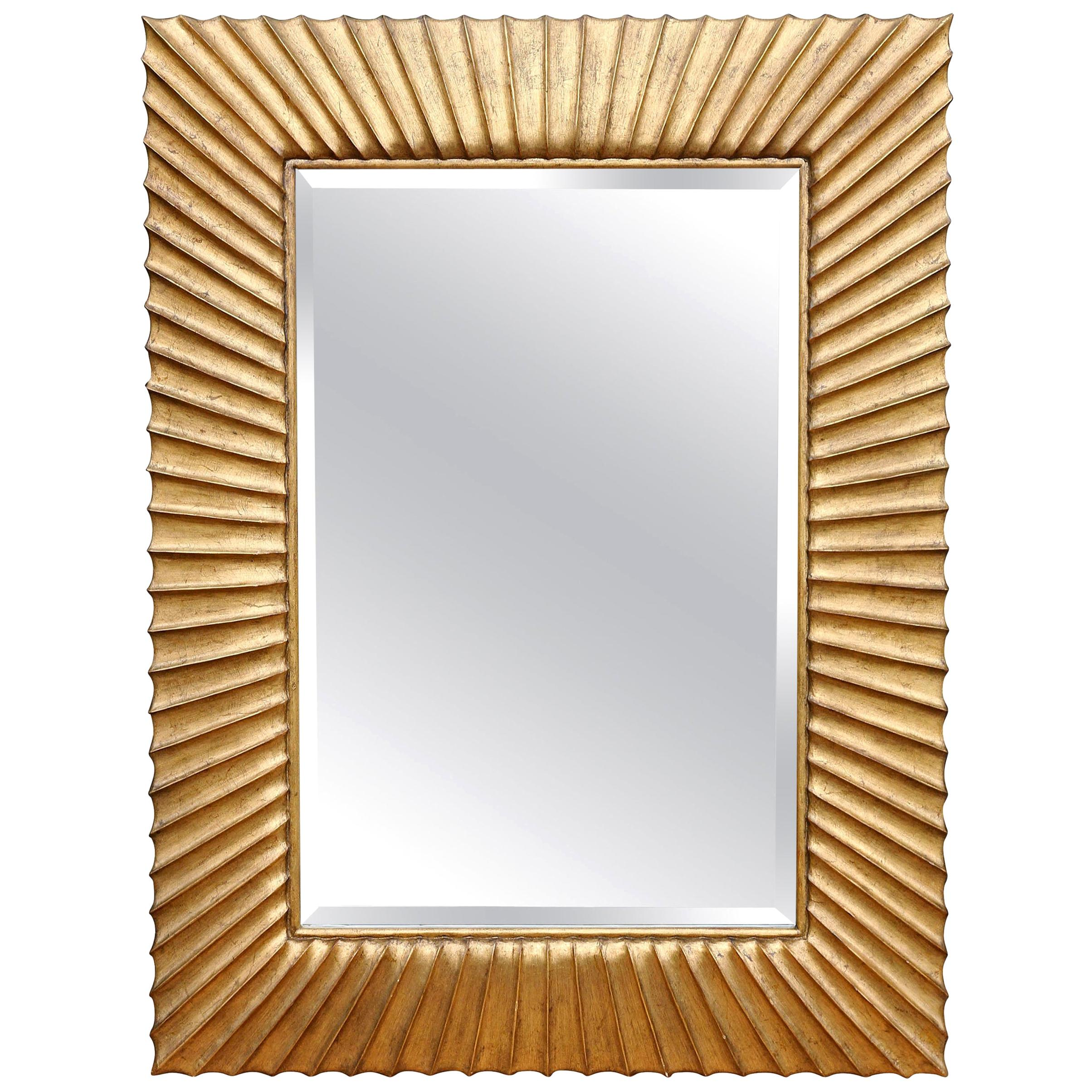 Modern Sunburst Carved Giltwood Mirror