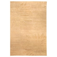 Modern Sunflower Beige Wool Rug