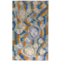 Modern Swedish Cobalt, White and Orange Flat-Weave Wool Rug
