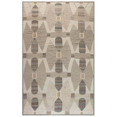 Modern Swedish Design Beige, Brown and Gray Flat-Weave Wool Rug