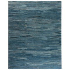 Modern Swedish Design Blue, Green and Gray Hand Knotted Wool Rug