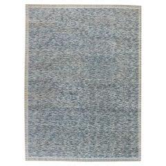 Modern Swedish Design Blue Hand Knotted Wool Pile Rug