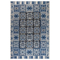 Modern Swedish Design Blue, White and Black Flat-Weave Rug