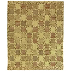 Modern Swedish Design Pastel Green, Olive and Brown Hand Knotted Wool Rug