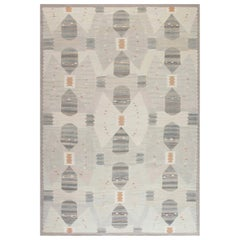 Modern Swedish Design Rug in White, Brown and Light Gray