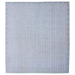 Modern Swedish Design Rug with All-Over Design in White, Taupe & Light Blue