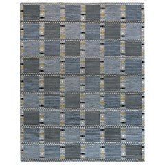 Modern Swedish Kilim Inspired Handwoven Wool Rug