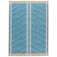 Modern Swedish Style Blue Handmade Geometric Wool Rug
