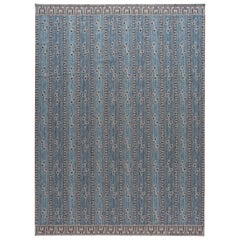 Modern Swedish Style Blue Handmade Wool Rug
