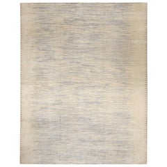 Modern Swedish Style Hand Knotted Wool and Silk Striped Rug