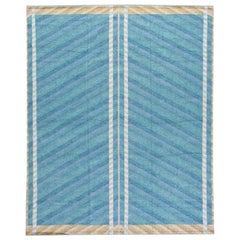Modern Swedish Style Handmade Geometric Oversize Blue Wool Rug