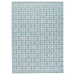 Modern Swedish Style Handmade Geometric Pattern Blue and Ivory Wool Rug