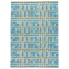 Modern Swedish Style Handmade Geometric Pattern Blue and Yellow Wool Rug
