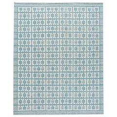 Modern Swedish Style Handmade Geometric Pattern Oversize Blue and Ivory Wool Rug