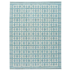 Modern Swedish Style Handmade Geometric Pattern Room size Blue Wool Rug