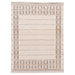 Modern Swedish Style Room Size Beige Geometric Designed Wool Rug