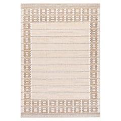 Modern Swedish Style Room Size Handmade Geometric Designed Beige Wool Rug