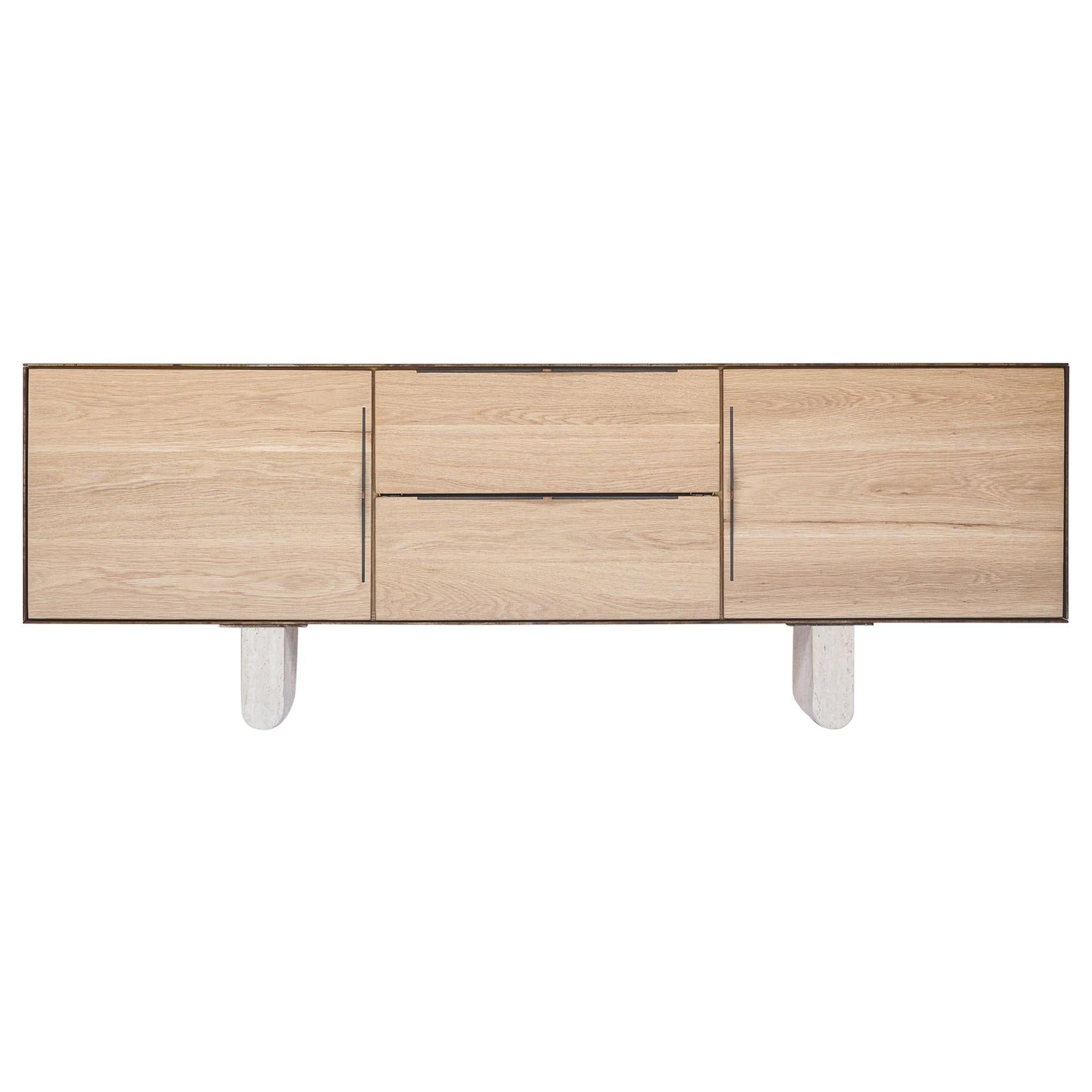 Modern Swell Credenza in Oak Travertine and Steel by Ordinal Indicator