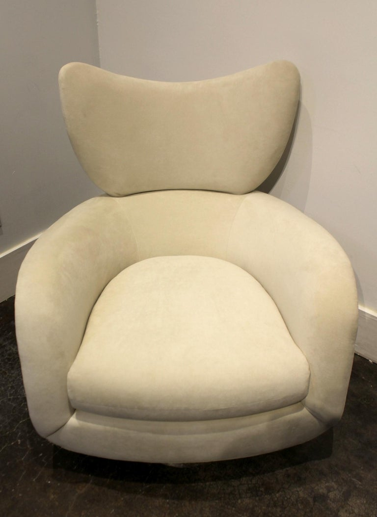 Ultrasuede Modern Swivel and Rock Lounge Chair and Ottoman in White by Vladimir Kagan For Sale