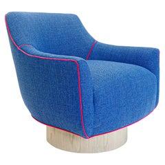Modern Swivel Chair in Blue Woven and Fuchsia Velvet Accent Welting