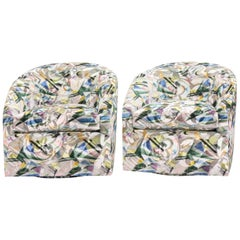 Modern Swivel Chair with Abstract Woven Velvet Print