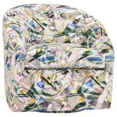 Modern Swivel Chair with Bauhaus Velvet Print, Customizable